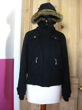 Ladies blue Hoodie hoody short WOOL COAT jacket UK8 biker bomber dorothy perkins