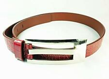 """Artística """"sangrado Rojo"""" cuero de piel de serpiente y cinturón plata hebilla de metal (uw4)"""