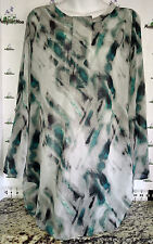 Mossimo Women's S/P - Tab-Sleeve - Long Tunic Top - Green/Blue/Gray - Very airy