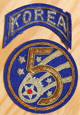 Vintage 5th Air Force Korea Bullion Patch and Tab, Aviation Insignia