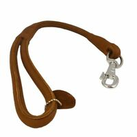 "Round Genuine Rolled Leather Dog Short Leash 20"" Long 5/8"" Wide Lead Large Dogs"