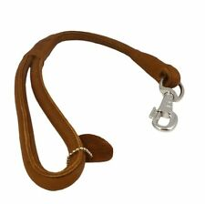 """Round Genuine Rolled Leather Dog Short Leash 20"""" Long 5/8"""" Wide Lead Large Dogs"""