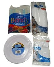 KINGFISHER CATERING PARTYWARE BUNDLE - PLATES CUPS CUTLERY STRAWS BBQ PARTY
