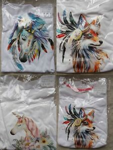 Childrens 'T' Shirts.Fantasy Transfer Prints.11-12yrs. Horse,Fox, Unicorn