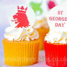 St George's Day Cake Toppers Comestibles Obleas cupcake decoraciones - 4 cm X 24