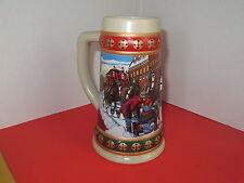 "Budweiser Stein / Mug 1993 ""Hometown Holiday"" Clydesdales Advertising Bar Decor"