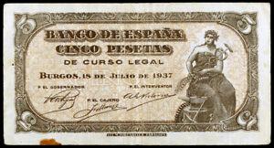 5 PESETAS 1937 PORTABELLA SIN SERIE MBC+,INUSUAL,MUY RARO Y ESCASO.