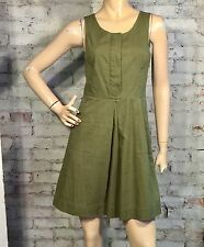 J.CREW CAROLINE DRESS 0 (XS) PLEATED FITTED SHIFT COTTON GREEN SLEEVELESS CASUAL