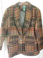 AMAZING Womens Tartan Plaid Blanket Jacket Coat Size 14 Large Wool Western L