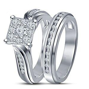 1.40 CT Round DVVS1 Diamond White Gold Finish 925 Silver Bridal Ring Set