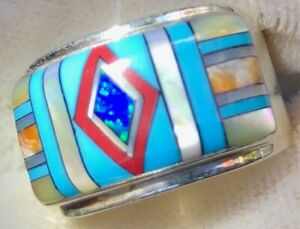 Handsome Warriors Face Paint Turquoise S Opal ring Sterling 925 Red Diamond 9
