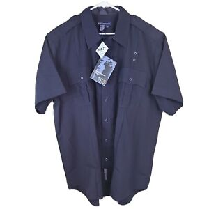 5.11 TACTICAL 41137 MIDNIGHT NAVY POLY/RAYON POLICE SHIRT SIZE X-LARGE 17-17 1/2