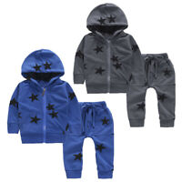 2PCS Toddler Kid Baby Girl Boy Star Hooded Long Sleeve Top Pants Coat Outfit Set