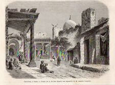 TUNIS CARREFOUR PLACE TUNISIE TUNISIA IMAGE 1865 OLD PRINT