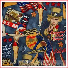 BonEful Fabric FQ VTG Military American Army Navy Patriot Soldier STAR USA FLAG