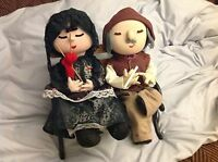 Cloth Dolls, unique, hand made, Oriental male & female, bench included