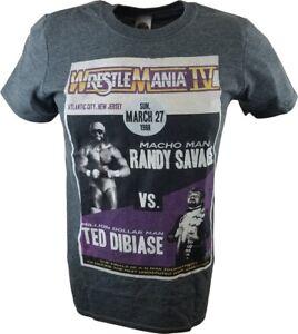 Wrestlemania 4 IV Macho Man Randy Savage vs Million Dollar Man WWE Mens Grey T-s