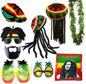 RASTA REGGAE JAMAICAN COSTUME HAT WIG DREADLOCKS GLASSES LEAF FANCY DRESS
