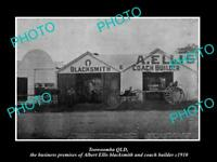 OLD LARGE HISTORIC PHOTO OF TOOWOOMBA QLD, THE ELLIS BLACKSMITH SORKS c1910