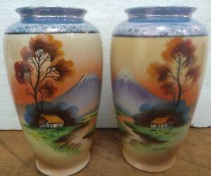 Chikaramachis matching Japanese 16cm vases Mt Fuji - super condition