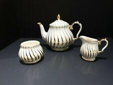 Vintage Sadler England Gold Swirls W/Cream Tea Pot / Sugar Bowl &  Creamer Set