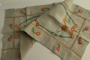 Antique Heavy Duty Irish Linen Table Runner - Hand & Raised Embroidered Florals
