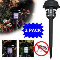 2PC Solar Powered LED Light Mosquito Pest Bug Zapper Insect Killer Lamp Garden