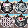 Round Beach Towel Skull Floral Throw Indian Bohemian Tapestry Mat Picnic Blanket