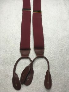 CAS GERMANY MENS SUSPENDERS ALL ELASTIC BUTTON ONS SOLID BURGUNDY