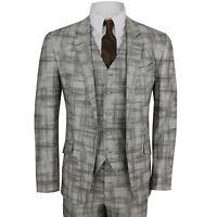 Mens Brown 3 Piece Suit Cotton Linen Blend Vintage Cross Lined Pattern Slim Fit