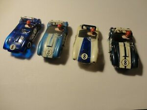 vintage tyco pro ho slot car lot of 4 ac cobras every color