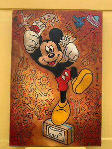 KEITH HARING OIL ON CANVAS BEAUTIFUL PAINTING MICKEY MOUSE SIGNED