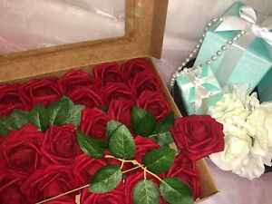 Artificial Flower Burgandy Roses 25pcs Real Looking Fake Rose W/Stem Wedding