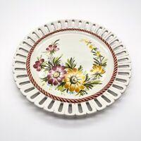 Vintage Durchbruchteller Teller mit Blumendekor, Florales Design 25cm #K102