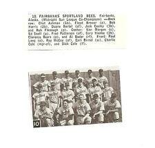 Fairbanks Sportland Bees Alaska 1957 Baseball Team Picture