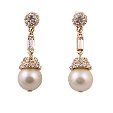 Splendido oro e cristallo, pendenti perla a lampadario orecchini a perno