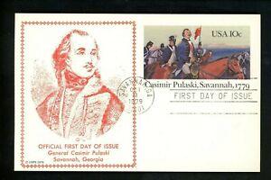 US FDC #UX79 Savannah Stamp Club 1979 GA Casimir Pulaski Postal Card 1st Cachet