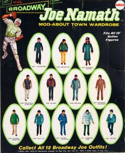 "1970 BROADWAY JOE NAMATH 12"" mego figure -- JACKET SHIRT PANTS SHOES SOCKS"