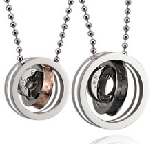LOVE Couple Necklaces stainless steel Love Cycle three times Pendant+free chain