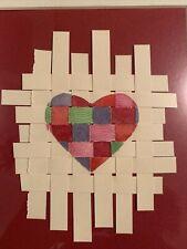 Original Art Framed Signed Woven Heart by Susan M Cole 5.5 X 7.5
