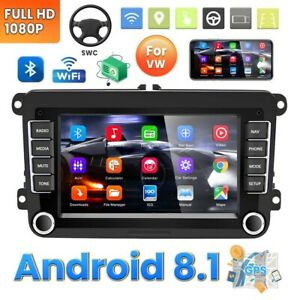 "7"" Autoradio 2 DIN Android 8.1 GPS NAVI WIFI Bluetooth Pour VW GOLF PASSAT POLO"