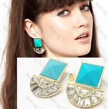 SQUARE aztec EARRINGS art deco GOLD FASHION turquoise blue pyramid RHINESTONE