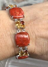 Gem Insider® Sterling Silver Red Coral Multi Gemstone Adjustable Toggle Bracelet