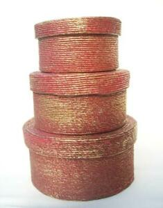 3 Nesting Stacking Wood Boxes with Red/Gold Rope Trim