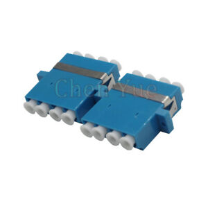 50pcs LC Quad Fiber Optic Adapter SM Blue FTTH Coupler 4 cores LC/UPC Connector
