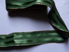 E58U) 1 m ruban fantaisie vert filet doré,  large 40 mm