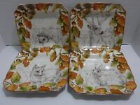 222 Fifth Set of 4 New Birkhill Manor Multi Color Autumn Porcelain Salad Plates
