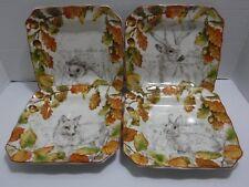 222 Fifth Set of 4 New Birkhill Manor Multi Color Autumn Porcelain Salad Plates