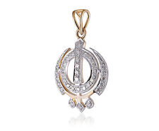 "Classy 1.01 Cts Natural Diamonds Unisex ""Khanda"" Pendant In Fine 18K Yellow Gold"