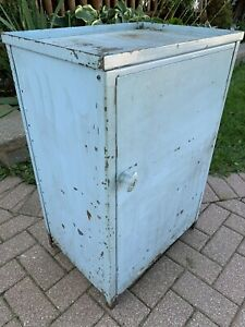 Antique Vintage Metal Storage Cabinet Stand